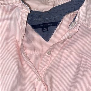 PINK AND WHITE BUTTON UP